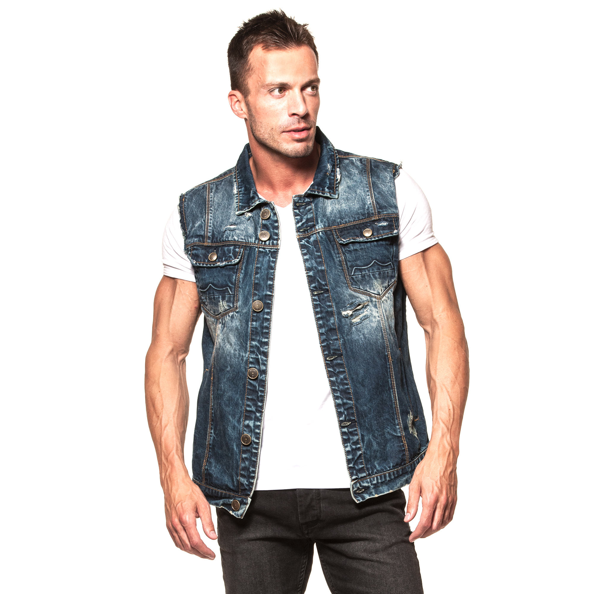 Men's Denim Gilets Vest Outdoor Multi Pockets Sleeveless Jacket Top Fishing Hunting Shooting Hiking $ 31 2 out of 5 stars 1. Allonly. Men's Retro Ripped Denim Vest Sleeveless Cowboy Jeans Jacket Vest With Broken Holes $ 32 Realdo. Mens Denim Jacket, Clearance Sale Men's Solid Color Vintage Button Tops Coat with Pocket.